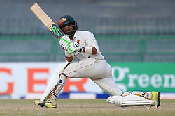 July 16, 2017 - Colombo, Sri Lanka - Zimbabwe cricketer Sikandar Raza plays a shot run  during the third day's play of the only test cricket match between Sri Lanka and Zimbabwe  at R Premadasa International cricket stadium in Colombo, Sri Lanka, Sunday, July 16, 2017. (Credit Image: © Tharaka Basnayaka/NurPhoto via ZUMA Press)