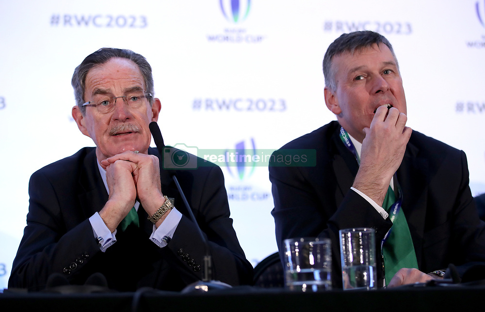 Ireland 2023 bid chairman Dick Spring (left) and IRFU Chief Executive Philip Browne (right) during the 2023 Rugby World Cup host union announcement at The Royal Garden Hotel, Kensington.