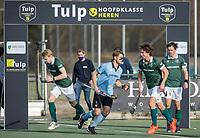 WASSENAAR - opkomst teams met Floris van der Linden (HGC),  tijdens de hoofdklasse competitiewedstrijd heren, HGC-HC ROTTERDAM (0-7) .     COPYRIGHT  KOEN SUYK