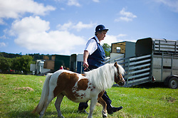 © Licensed to London News Pictures.15/08/15<br /> Rosedale, UK. <br /> <br /> A woman walks her Shetland Pony to the arena for her heat during the Rosedale Country Show. This mainstay annual event remains as popular as ever attracting visitors and entrants from across the region.<br /> <br /> Photo credit : Ian Forsyth/LNP