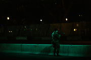 WASHINGTON, DC - JANUARY 17: A soldier from Bravo Company, 1st Battalion, 116th Infantry Brigade Combat Team, Virginia National Guard, has a bit of chow while on watch on the National Mall on January 17, 2021 in Washington, DC. After last week's riots at the U.S. Capitol Building, the FBI has warned of additional threats in the nation's capital and in all 50 states. According to reports, as many as 25,000 National Guard soldiers will be guarding the city as preparations are made for the inauguration of Joe Biden as the 46th U.S. President. (Photo by Samuel Corum/Getty Images)