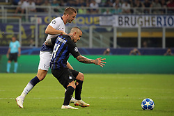 September 18, 2018 - Milan, Milan, Italy - Radja Nainggolan #14 of FC Internazionale Milano competes for the ball with Eric Dier #15 of Tottenham Hotspur during  the UEFA Champions League group B match between FC Internazionale and Tottenham Hotspur at Stadio Giuseppe Meazza on September 18, 2018 in Milan, Italy. (Credit Image: © Giuseppe Cottini/NurPhoto/ZUMA Press)