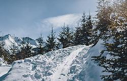 THEMENBILD - eine Skitouren-Spur führt durch einen verschneiten Wald bei Sonnenschein, aufgenommen am 27. Februar 2020 in Kaprun, Oesterreich // a ski touring trail leads through a snowy forest in sunshine in Kaprun, Austria on 2020/02/27. EXPA Pictures © 2020, PhotoCredit: EXPA/Stefanie Oberhauser