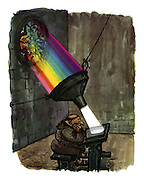 (Monk reading by the rainbow light filtered through a stained glass window)