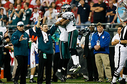 18 Jan 2009: Philadelphia Eagles wide receiver DeSean Jackson #10 celebrates his touchdown with cornerback Lito Sheppard #26 during the NFC Championship game against the Arizona Cardinals on January 18th, 2009. The Cardinals won 32-25 at University of Phoenix Stadium in Glendale, Arizona. (Photo by Brian Garfinkel)