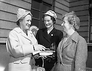 21/04/1960<br /> 04/21/1960<br /> 21 April 1960<br /> Golden Jubilee of the I.C. A.. The Annual General Meeting of the Irish Countrywomen's Association at the Mansion House, Dublin. Picture shows (l-r): Mrs E. Casey, President Tralee Town Associates I.C.A.; Mrs T.D. Cooper, President Kerry Federation I.C.A. and Mrs K. O'Herlihy, President Castleisland Guild I.C.A..