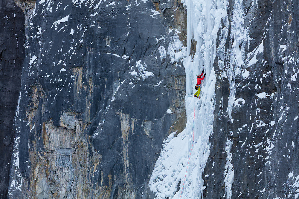 Jon Walsh climbing Silmarillion WI6 165m in Storm Creek, Kootenay National Park on a cold -23c day.