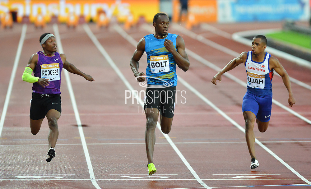 Usain Bolt wins heat B Mens 100m at the Sainsbury's Anniversary Games at the Queen Elizabeth II Olympic Park, London, United Kingdom on 24 July 2015. Photo by Mark Davies.