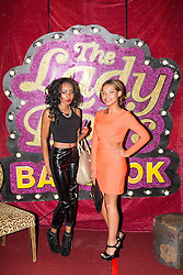 """© Licensed to London News Pictures . 26/06/2013 . Manchester , UK . Shameless actress , Kira Martin (right) with friend Tia Ennis , attending the performance . The Ladyboys of Bangkok perform their show , """" Glamorous Amorous """" at the Sabai Pavilion , in Manchester , as part of their 2013 UK tour . Photo credit : Joel Goodman/LNP"""