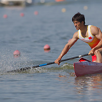 Huang Shaokun from China slows down his boat after succesfully finishing the C1 1000m Canoe semi-final during the 2011 ICF World Canoe Sprint Championships held in Szeged, Hungary. Thursday, 18. August 2011. ATTILA VOLGYI