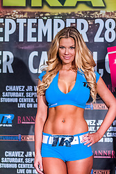LOS ANGELES, California/USA (Friday, Sept 27 2013) - Playboy Playmate July 2011 Jessa Hinton models as Top Rank Ring Girl during the Chavez JR vs Vera weigh in at the Millenium Biltmore Hotel for the upcoming Chavez jr vs Vera fight next September 28 at the StubHub Center in Carson, CA. Los Angeles, CA. 27th September 2013. Fees must be agreed for image use. Byline, credit, TV usage, web usage or linkback must read: SILVEXPHOTO.COM.