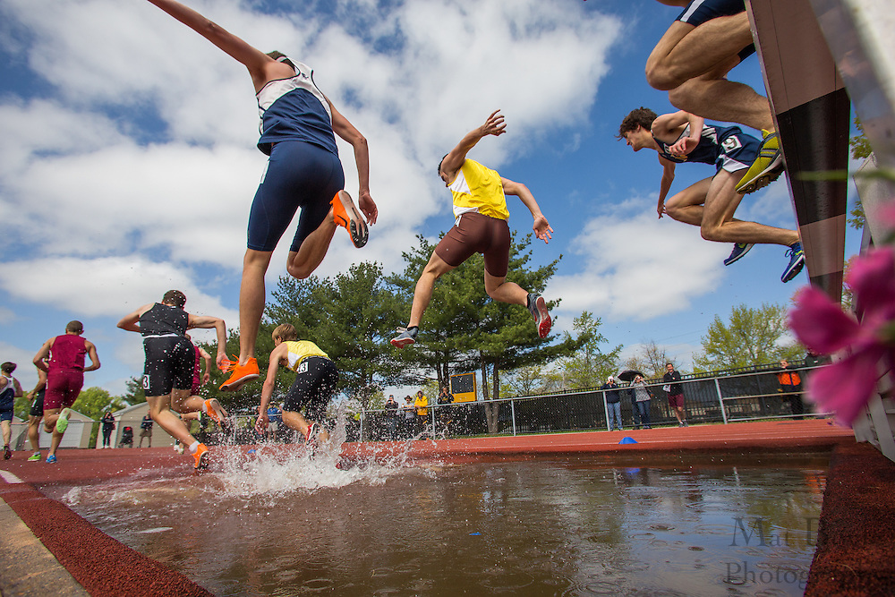 Men's 3000 meter Steeplechase at the NJAC Track and Field Championships at Richard Wacker Stadium on the campus of  Rowan University  in Glassboro, NJ on Sunday May 5, 2013. (photo / Mat Boyle)