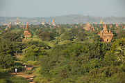The temples and pagodas of the ancient city Bagan at sunrise, in Myanmar