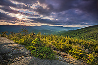 Clearing storm and suset light over the Nebraska Range from White Rocks, Putnam State Forest, Vermont.  Views toward the north and west to Upper Hollow North Tract, Patterson Brook Project