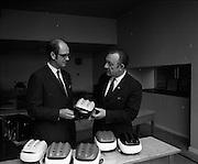 21/04/1970<br /> 04/21/1970<br /> 21 April 1970<br /> A new safety helmet for use by hurling players was shown publicly for the first time at Croke Park on the 21st of April 1970. The helmet was the first of its kind to be designed and manufactured completely in Ireland. The helmet was manufactured by William Cox (Ireland) LTD. The director and general manager, Mr. Jim Shannon presented some sample helmets to Seán Ó Síocháin, General Secretary of the G.A.A. The helmets were available in county or club colours.