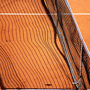 PARIS, FRANCE October 04. A shadow of the net on the clay surface on Court Suzanne Lenglen during the French Open Tennis Tournament at Roland Garros on October 4th 2020 in Paris, France. (Photo by Tim Clayton/Corbis via Getty Images)