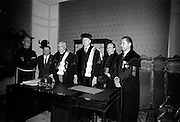 19/05/1966<br /> 05/19/1966<br /> 19 May 1966<br /> President Eamon de Valera receives Honorary Doctorate from the University of Louvain, Belgium at a conferring ceremony at the Department of External Affairs in Dublin. Picture shows (l-r): Fr. Aidan Lyons, O.F.M., Guardian of the Irish Franciscans, Louvain; M. Louis Roppe, Governor of Limburg; Monsignor Louis De Raeymaeker, Pro-Rector, Louvain University; President Eamon de Valera; Monsignor Edouard Massaux, Pro-Rector and Professor Michel Woitrin, Administrator General of the University.