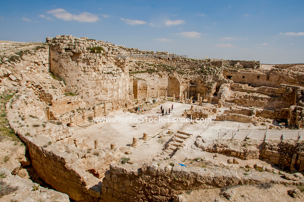 Israel, West Bank, Judaea, Herodion a castle fortress built by King Herod 20 B.C.E. Remains of the castle