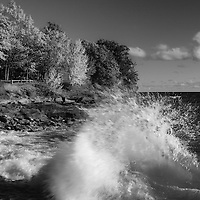 """""""Crashing Waves in Autumn"""" mono<br /> <br /> Beautiful strong waves crash against the rocky shores of Presque Isle Park in Marquette Michigan!"""
