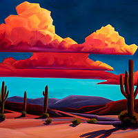 SOLD <br /> Evening desert clouds turn radiant with the setting sun, their shapes so distinct you feel like you can reach into the sky and touch one. <br /> 20 x 30, oil on canvas.