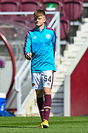 Finlay Pollock (#54)) of Heart of Midlothian FC during the warm up before the SPFL Championship match between Heart of Midlothian and Inverness CT at Tynecastle Park, Edinburgh Scotland on 24 April 2021.