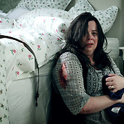 Fair City Eps 166<br /> TX:  TX:  Tuesday  October 22nd 2013<br /> Vivienne is in agony after Paddy beats her<br /> L-R<br /> Vivienne - Helen Norton