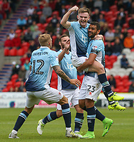 Blackpool's Oliver Turton celebrates scoring his sides second goal with teammates<br /> <br /> Photographer Alex Dodd/CameraSport<br /> <br /> The EFL Sky Bet League One - Doncaster Rovers v Blackpool - Saturday 19th August 2017 - Keepmoat Stadium - Doncaster<br /> <br /> World Copyright © 2017 CameraSport. All rights reserved. 43 Linden Ave. Countesthorpe. Leicester. England. LE8 5PG - Tel: +44 (0) 116 277 4147 - admin@camerasport.com - www.camerasport.com