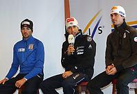 Kombinert<br /> FIS World Cup / Verdenscup<br /> Foto: Gepa/Digitalsport<br /> NORWAY ONLY<br /> <br /> 25.11.2010<br /> Kuusamo Finland<br /> <br /> FIS Weltcup, Nordic Opening, Vorberichte, Pressekonferenz. Bild zeigt Magnus Moan (NOR), Jason Lamy Chappuis (FRA) und Felix Gottwald (AUT).