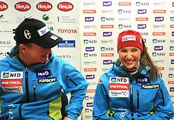 Bozo Jaklin and Mateja Robnik at press conference of Women Slovenian alpine team before the World Championship in Val d'Isere, France, on January 26, 2009, in Ljubljana, Slovenia. (Photo by Vid Ponikvar / Sportida).