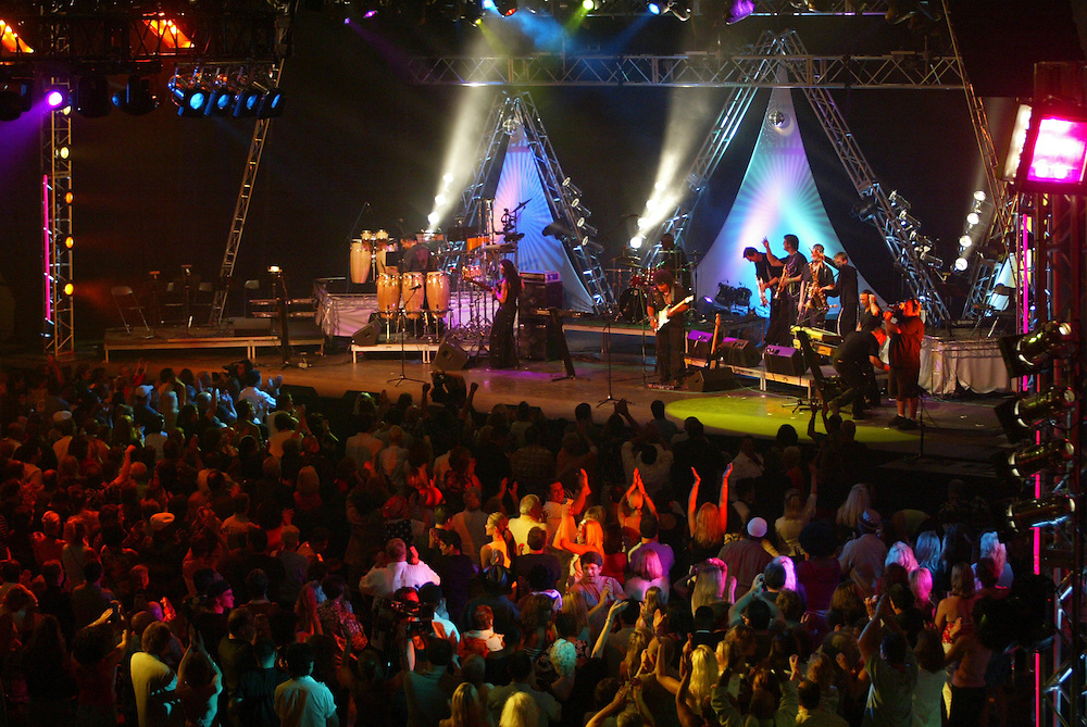"""(PFEATURES) Asbury Park 8/17/2004 Overall of the  PBS taping of """"My Music: Get Down Tonight: The Best of 70's Disco and Dance Music at Convention Hall.  Michael J. Treola Staff Photographer.....MJT"""