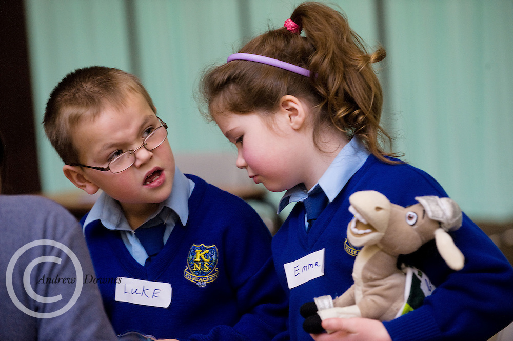 Medical Students Volunteer for NUI Galway's Teddy Bear Hospital where   Luke Finnerty and Emma Kelly from Kilbeacanty Co. Galway got their Teddys healed . Photo:Andrew Downes.