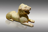 Phrygian ivory statuette carved as a roaring lion lying down from a table base decoration. From Gordion. Phrygian Collection, 8th-7th century BC - Museum of Anatolian Civilisations Ankara. Turkey. .<br /> <br /> If you prefer you can also buy from our ALAMY PHOTO LIBRARY  Collection visit : https://www.alamy.com/portfolio/paul-williams-funkystock/phrygian-antiquities.html  - Type into the LOWER SEARCH WITHIN GALLERY box to refine search by adding background colour, place, museum etc<br /> <br /> Visit our CLASSICAL WORLD PHOTO COLLECTIONS for more photos to download or buy as wall art prints https://funkystock.photoshelter.com/gallery-collection/Classical-Era-Historic-Sites-Archaeological-Sites-Pictures-Images/C0000g4bSGiDL9rw