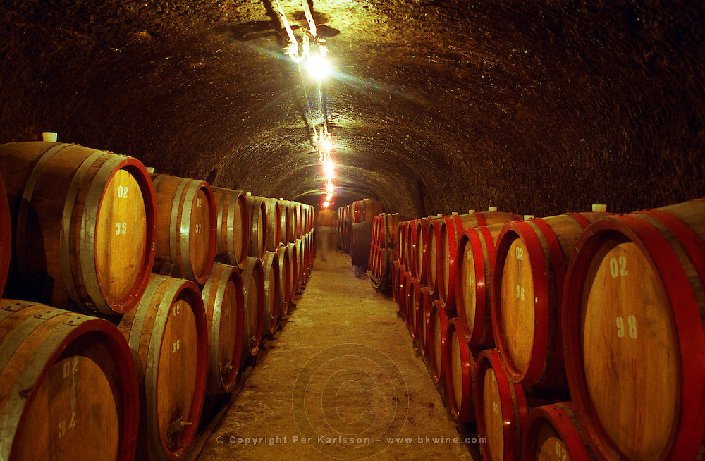 The Tibor Gal (GIA) winery in Eger, underground tunnels with rows of barrels filled with wine.