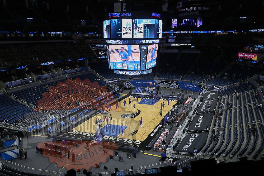 ORLANDO, FL - FEBRUARY 17:   Players warm up for a game between the New York Knicks and Orlando Magic at Amway Center on February 17, 2021 in Orlando, Florida. NOTE TO USER: User expressly acknowledges and agrees that, by downloading and or using this photograph, User is consenting to the terms and conditions of the Getty Images License Agreement. (Photo by Alex Menendez/Getty Images)*** Local Caption ***