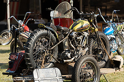 BF8 Invited builder Jeremiah Armenta's Love Cycles 1940 Harley-Davidson Knucklehead hillclimber ready to race as it is loaded into a Knucklehead sidecar at the Born Free Motorcycle Show-8 at the Oak Canyon Ranch. Silverado, CA, USA. Saturday June 25, 2016.  Photography ©2016 Michael Lichter.