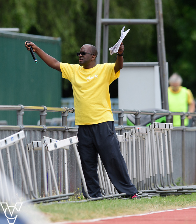 Event: 100 meters<br /> Competitors, from left: <br /> <br /> Metro Blind Sport's 42nd Athletics Open, held at Mile End Stadium, Tower Hamlets, London.<br /> <br /> Picture: Chris Vaughan Photography for Metro Blind Sports<br /> Date: June 16, 2018