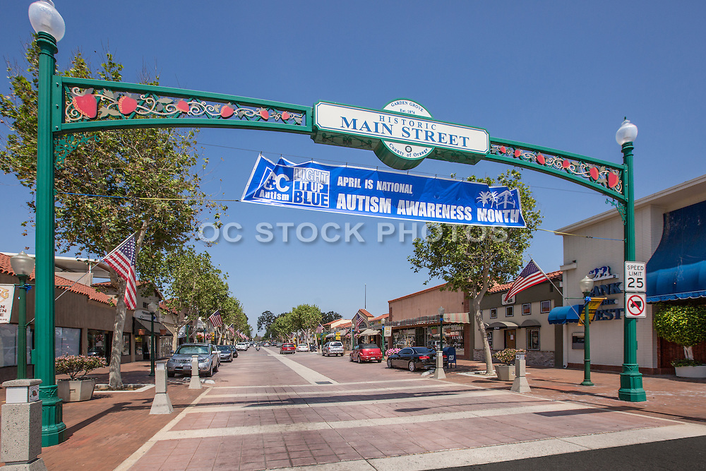 Archway to Historical Downtown Garden Grove at Main Street
