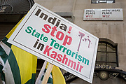 As Indians celebrate their Independence Day, Kashmiris and Pakistanis protest outside India House, the Indian High Commission in Londons Aldwych, about Indian PM Narendra Modis recent decision to strip Indian-administered Kashmir of its special status, London, on 15th August 2019, in London, England.