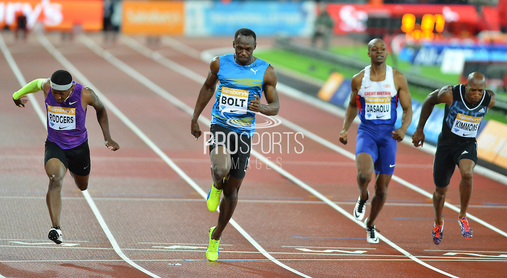 Usain Bolt wins the 100m final at the Sainsbury's Anniversary Games at the Queen Elizabeth II Olympic Park, London, United Kingdom on 24 July 2015. Photo by Mark Davies.