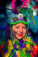 Girl in costume, Mardi Gras, French Quarter, New Orleans, Lousiana, USA