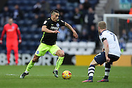 Brighton & Hove Albion winger Anthony Knockaert (11) takes on Preston North End midfielder Daryl Horgan (7) during the EFL Sky Bet Championship match between Preston North End and Brighton and Hove Albion at Deepdale, Preston, England on 14 January 2017.