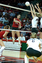 06 November 2004....Savannah Knowles with a kill attempt....Illinois State University Redbirds V SouthWest Missouri State University Bears Volleyball.  Redbird Arena, Illinois State University, Normal IL..Illinois State Redbirds v Southwest Missouri State