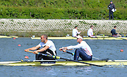 Reading. United Kingdom.  GBR M2-.  Bow. Alex GREGORY and Mo SBIHI, in the opening strokes of the morning time trial. 2014 Senior GB Rowing Trails, Redgrave and Pinsent Rowing Lake. Caversham.<br /> <br /> 11:04:54  Saturday  19/04/2014<br /> <br />  [Mandatory Credit: Peter Spurrier/Intersport<br /> Images]