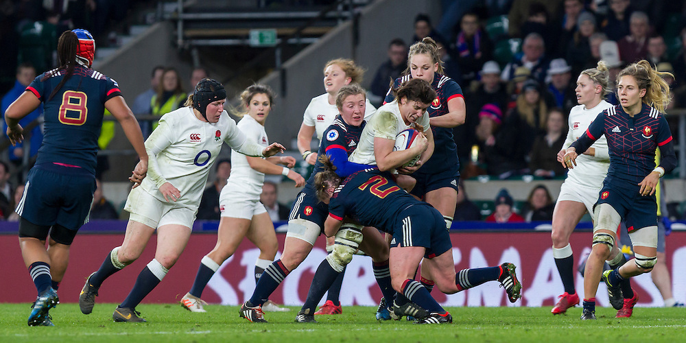 Sarah Hunter in action, England Women v France Women in a 6 Nations match at Twickenham Stadium, London, England, on 4th February 2017 Final Score 26-13.