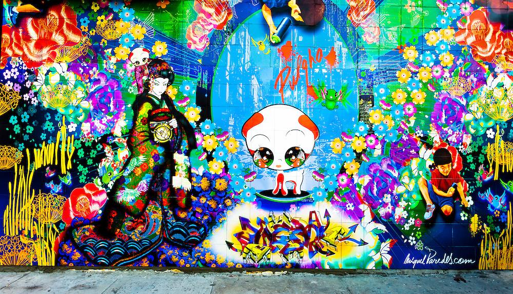Vibrant and intricate mural by Miguel Paredes in Miami's Wynwood street art district during Miami Art Week.