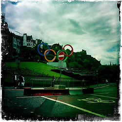 Olympis rings in Edinburgh..Hipstamatic images taken on an Apple iPhone..©Michael Schofield.
