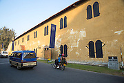 Traffic vehicles by fort walls inside the historic town of Galle, Sri Lanka, Asia