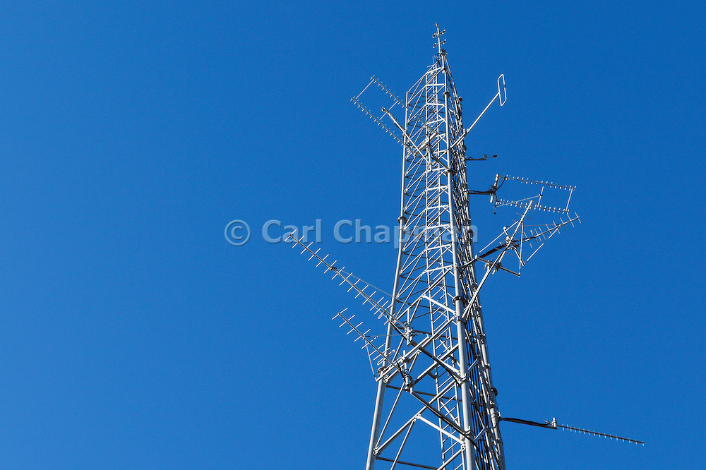 Mobile radio and yagi antennas on  lattice tower in Port Macquaire, New South Wales <br /> <br /> Editions:- Open Edition Print / Stock Image