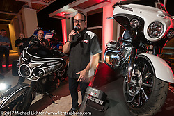 Custom bike builder Brian Klock of Klock Werks with his just revealed Jack Daniels themed Indian Chieftain at an Indian party at the Hilton Hotel during bike week. Daytona Beach, FL, USA. Friday March 10, 2017. Photography ©2017 Michael Lichter.