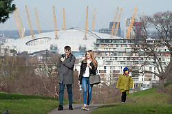 © Licensed to London News Pictures. 12/02/2019. Greenwich,A walk in the park, Bright and milder weather today in Greenwich Park, South East London . Photo credit: Grant Falvey/LNP